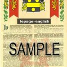 LEPAGE - ENGLISH - Armorial Name History - Coat of Arms - Family Crest GIFT! 8.5x11
