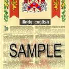 LINDO - ENGLISH - Armorial Name History - Coat of Arms - Family Crest GIFT! 8.5x11