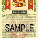 LINN - ENGLISH - Armorial Name History - Coat of Arms - Family Crest GIFT! 8.5x11