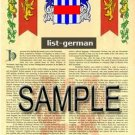 LIST - GERMAN - Armorial Name History - Coat of Arms - Family Crest GIFT! 8.5x11
