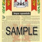 LOYA - SPANISH - Armorial Name History - Coat of Arms - Family Crest GIFT! 8.5x11