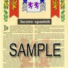 LUCERO - SPANISH - Armorial Name History - Coat of Arms - Family Crest GIFT! 8.5x11
