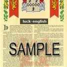 LUCK - ENGLISH - Armorial Name History - Coat of Arms - Family Crest GIFT! 8.5x11