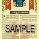 MAGGIO - ITALIAN - Armorial Name History - Coat of Arms - Family Crest GIFT! 8.5x11
