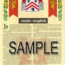 MAIN - ENGLISH - Armorial Name History - Coat of Arms - Family Crest GIFT! 8.5x11