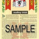 MALLOY - IRISH - Armorial Name History - Coat of Arms - Family Crest GIFT! 8.5x11