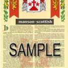 MANSON - SCOTTISH - Armorial Name History - Coat of Arms - Family Crest GIFT! 8.5x11