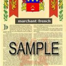 MARCHANT - FRENCH - Armorial Name History - Coat of Arms - Family Crest GIFT! 8.5x11