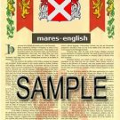 MARES - ENGLISH - Armorial Name History - Coat of Arms - Family Crest GIFT! 8.5x11