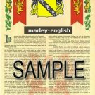 MARLEY - ENGLISH - Armorial Name History - Coat of Arms - Family Crest GIFT! 8.5x11