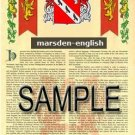 MARSDEN - ENGLISH - Armorial Name History - Coat of Arms - Family Crest GIFT! 8.5x11