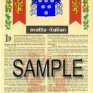 MATTA - ITALIAN - Armorial Name History - Coat of Arms - Family Crest GIFT! 8.5x11