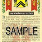 MCCLELLAN - SCOTTISH - Armorial Name History - Coat of Arms - Family Crest GIFT! 8.5x11