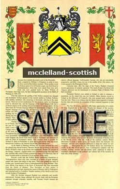 MCCLELLAND - SCOTTISH - Armorial Name History - Coat of Arms - Family Crest GIFT! 8.5x11