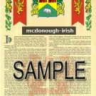 MCDONOUGH - IRISH - Armorial Name History - Coat of Arms - Family Crest GIFT! 8.5x11