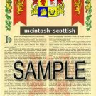 MCINTOSH - SCOTTISH - Armorial Name History - Coat of Arms - Family Crest GIFT! 8.5x11