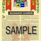 MCMASTER - SCOTTISH - Armorial Name History - Coat of Arms - Family Crest GIFT! 8.5x11