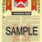 MECHAM - IRISH - Armorial Name History - Coat of Arms - Family Crest GIFT! 8.5x11