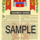MEEKINS - WELSH - Armorial Name History - Coat of Arms - Family Crest GIFT! 8.5x11