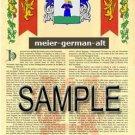 MEIER - GERMANALT - Armorial Name History - Coat of Arms - Family Crest GIFT! 8.5x11