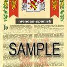 MENDES - SPANISH - Armorial Name History - Coat of Arms - Family Crest GIFT! 8.5x11