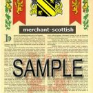 MERCHANT - SCOTTISH - Armorial Name History - Coat of Arms - Family Crest GIFT! 8.5x11
