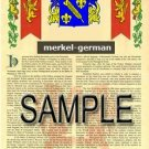 MERKEL - GERMAN - Armorial Name History - Coat of Arms - Family Crest GIFT! 8.5x11