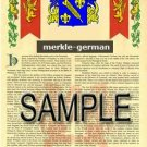 MERKLE - GERMAN - Armorial Name History - Coat of Arms - Family Crest GIFT! 8.5x11
