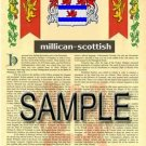 MILLICAN - SCOTTISH - Armorial Name History - Coat of Arms - Family Crest GIFT! 8.5x11