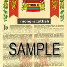 MONG - SCOTTISH - Armorial Name History - Coat of Arms - Family Crest GIFT! 8.5x11