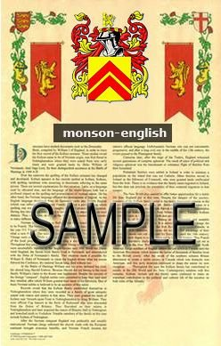 MONSON - ENGLISH - Armorial Name History - Coat of Arms - Family Crest GIFT! 8.5x11