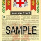 MONSON - FRENCH - Armorial Name History - Coat of Arms - Family Crest GIFT! 8.5x11