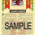 MUDD - ENGLISH - Armorial Name History - Coat of Arms - Family Crest GIFT! 8.5x11