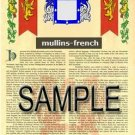 MULLINS - FRENCH - Armorial Name History - Coat of Arms - Family Crest GIFT! 8.5x11