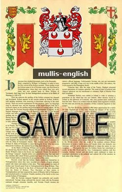MULLIS - ENGLISH - Armorial Name History - Coat of Arms - Family Crest GIFT! 8.5x11