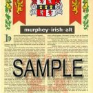 MURPHEY - IRISHALT - Armorial Name History - Coat of Arms - Family Crest GIFT! 8.5x11