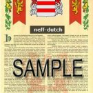 NEFF - DUTCH - Armorial Name History - Coat of Arms - Family Crest GIFT! 8.5x11