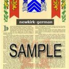 NEWKIRK - GERMAN - Armorial Name History - Coat of Arms - Family Crest GIFT! 8.5x11