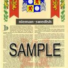 NIEMAN - SWEDISH - Armorial Name History - Coat of Arms - Family Crest GIFT! 8.5x11