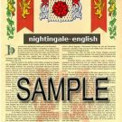 NIGHTINGALE - ENGLISH - Armorial Name History - Coat of Arms - Family Crest GIFT! 8.5x11