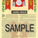 NOBLE - DUTCH - Armorial Name History - Coat of Arms - Family Crest GIFT! 8.5x11