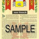 NOE - FRENCH - Armorial Name History - Coat of Arms - Family Crest GIFT! 8.5x11