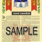 NORD - SWEDISH - Armorial Name History - Coat of Arms - Family Crest GIFT! 8.5x11