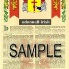 ODONNELL - IRISH - Armorial Name History - Coat of Arms - Family Crest GIFT! 8.5x11