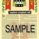 OGDEN - ENGLISHALT - Armorial Name History - Coat of Arms - Family Crest GIFT! 8.5x11