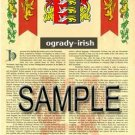 OGRADY - IRISH - Armorial Name History - Coat of Arms - Family Crest GIFT! 8.5x11