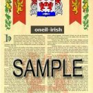 ONEIL - IRISH - Armorial Name History - Coat of Arms - Family Crest GIFT! 8.5x11