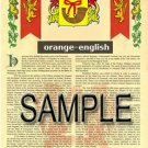 ORANGE - ENGLISH - Armorial Name History - Coat of Arms - Family Crest GIFT! 8.5x11