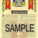 PAGE - FRENCH - Armorial Name History - Coat of Arms - Family Crest GIFT! 8.5x11