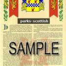 PARKS - SCOTTISH - Armorial Name History - Coat of Arms - Family Crest GIFT! 8.5x11